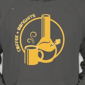 COFFEE+BONGHITS grey hoodie w orange logo